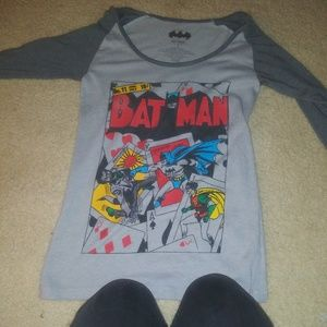 Batman long sleeve shoulder cut shirt